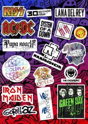 Набор наклеек Музыкальные Группы Лого